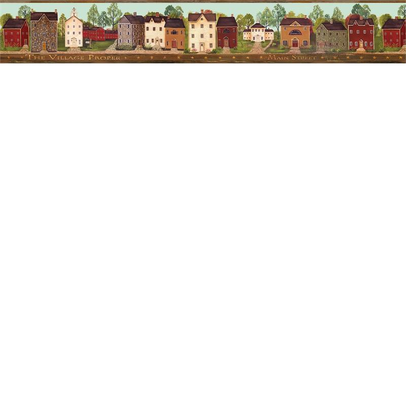 Green Main Street Wallpaper Border   Rustic Country Primitive 800x800