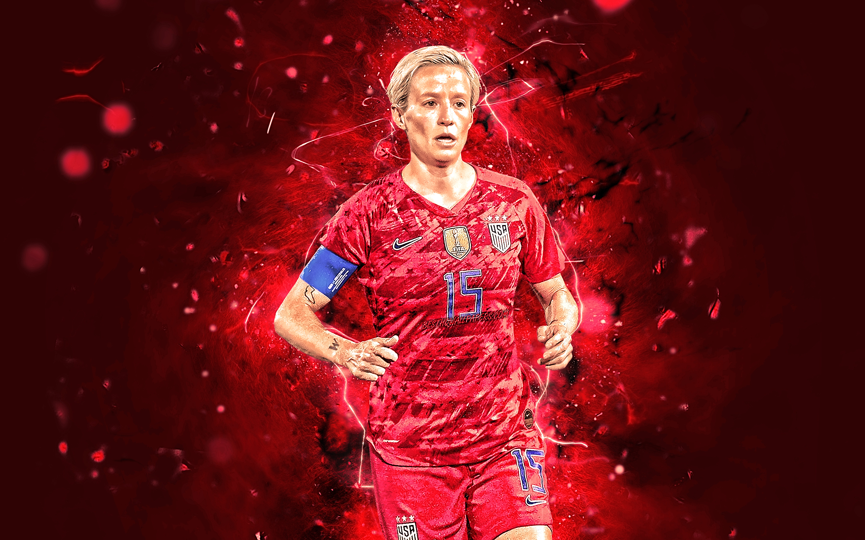 Download wallpapers Megan Rapinoe abstract art USA National Team 2880x1800