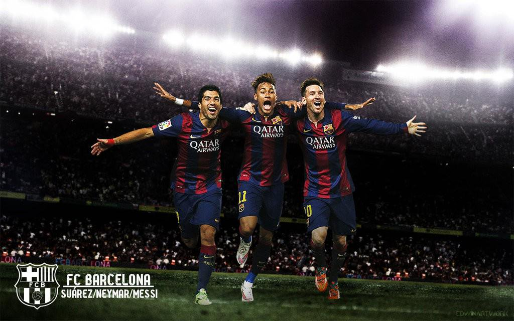 mesqueunclubgr Wallpaper Suarez Neymar and Messi 1024x640