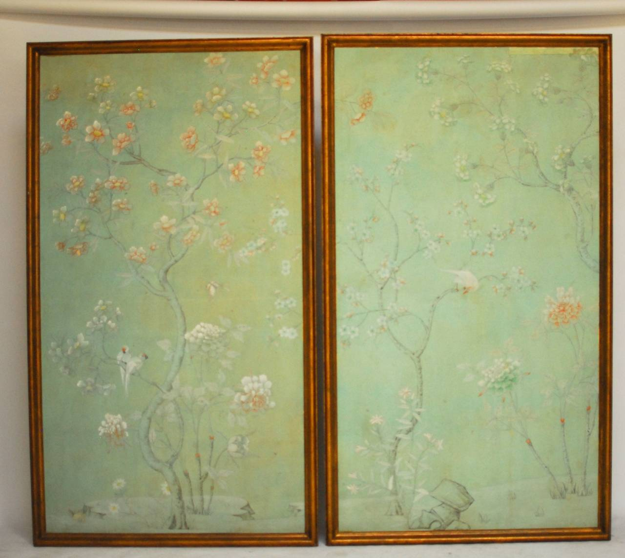 Pair of Chinoiserie Wallpaper Panels For Sale at 1stdibs 1280x1144
