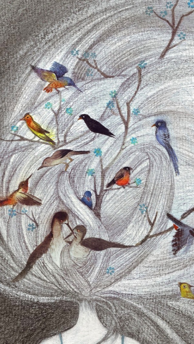 Birds and Trees Sketch Wallpaper   iPhone Wallpapers 640x1136