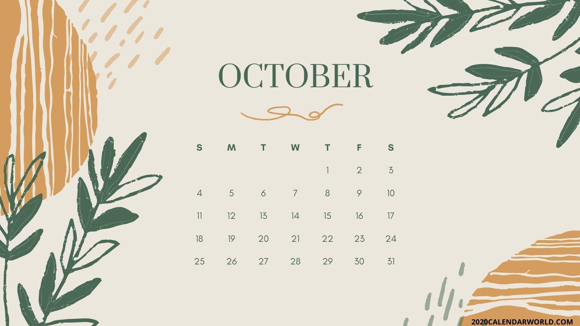 Floral October 2020 calendar for desktop Desktop wallpaper 1920x1080