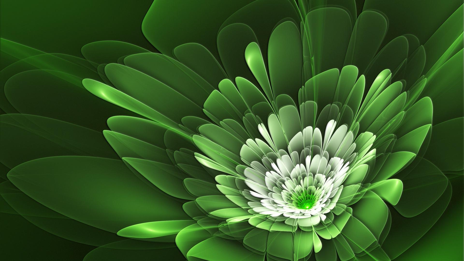 Green Flowers 1920x1080
