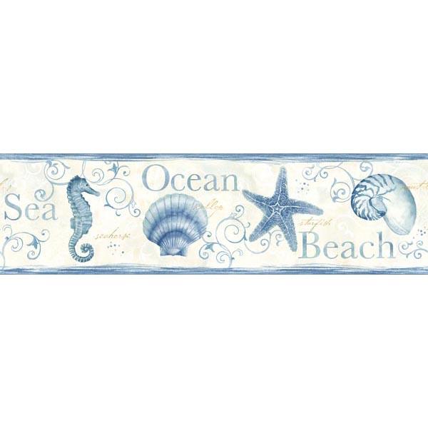 Blue Seashells Border   Island Bay   Sand Dollar by Chesapeake 600x600