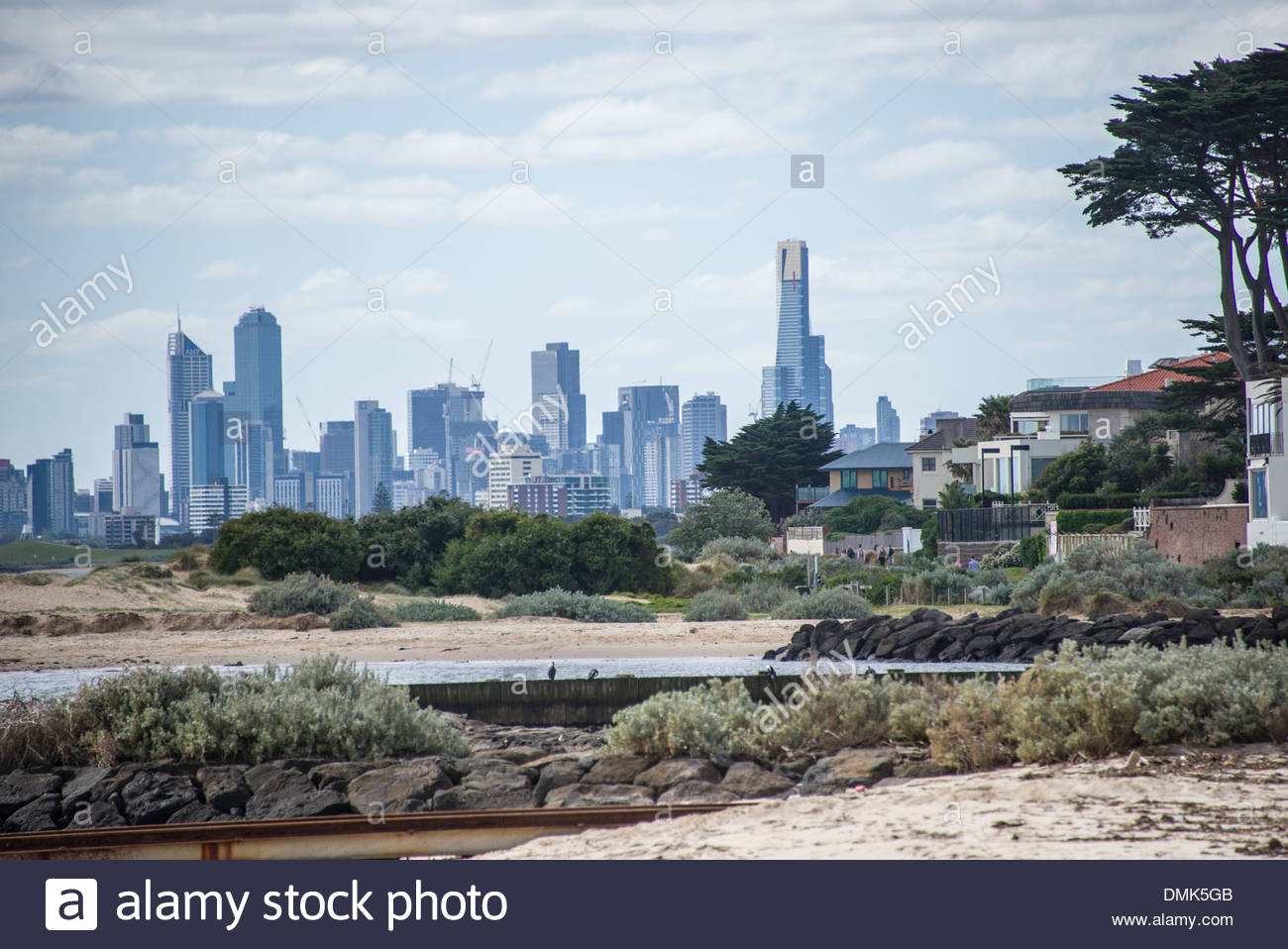 Brighton Beach series Melbourne city skyline in background on 1300x958