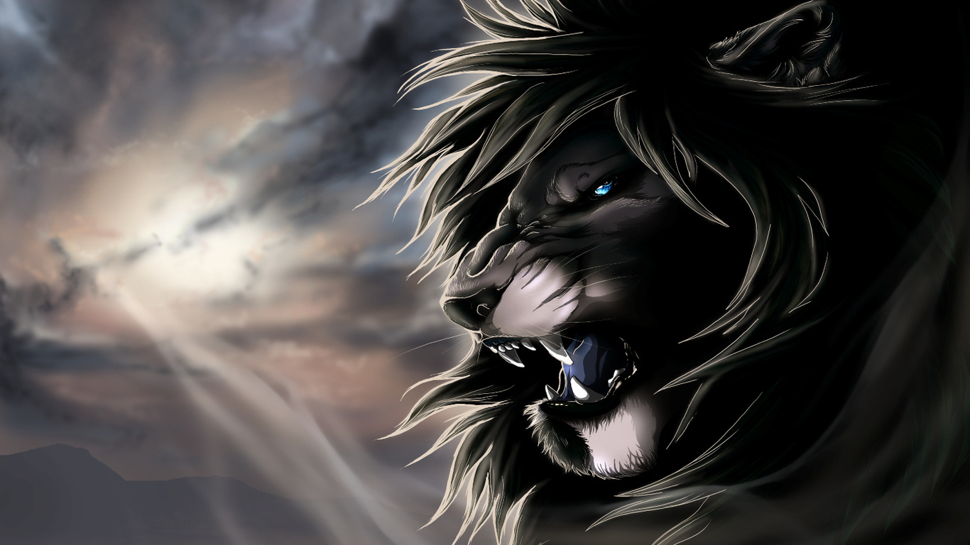 Black Lion HD Wallpaper 1366x768
