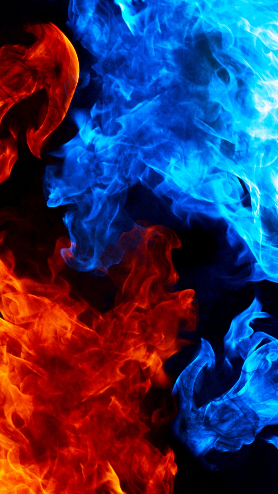 HD Background Red Yellow Blue Flame Texture Pattern 1080x1920
