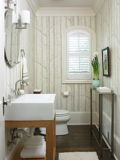 wallpaper adds fun texture to this nature inspired bath more bathrooms 400x533