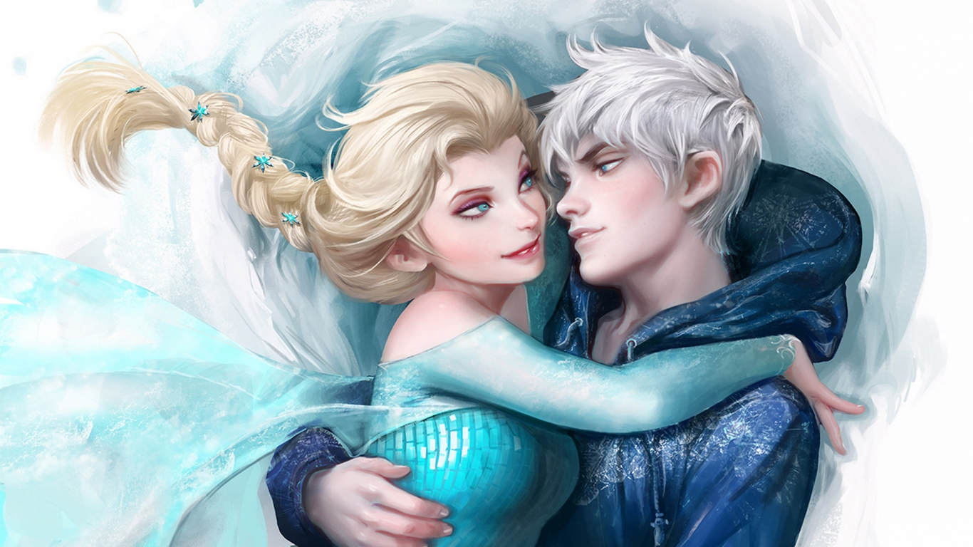 1366x768 Wallpaper jack frost winter spirit frozen elsa snow queen 1366x768