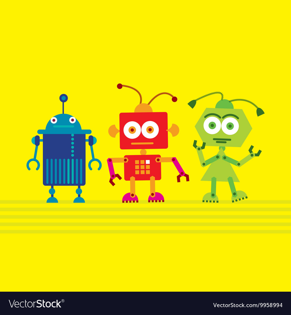 Colorful cute robot set on yellow background Vector Image 999x1080