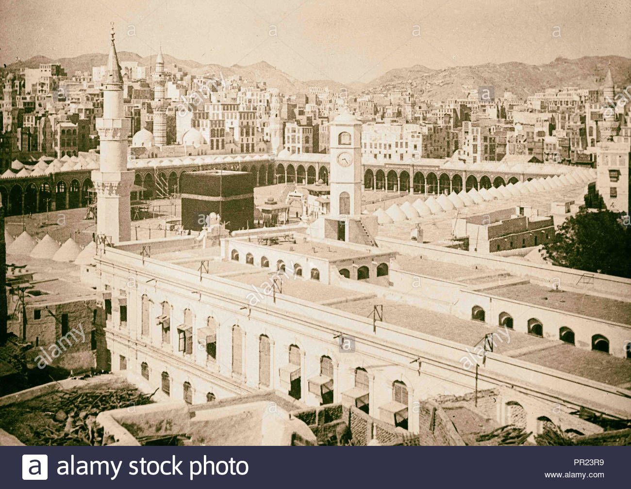 Mecca ca 1910 Birds eye of Kaaba with city in bg [ie 1300x1009