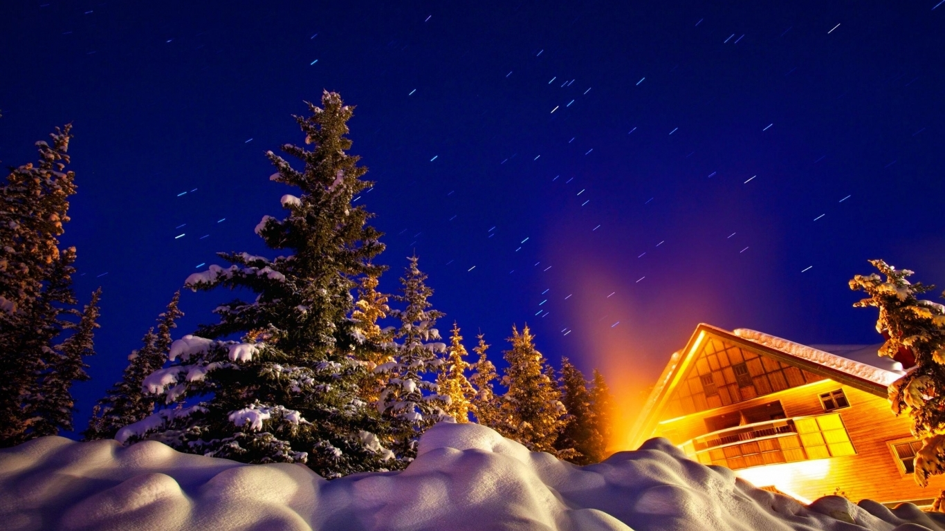Warm House Under Night Winter Sky Hd Wallpaper Wallpaper List 1366x768