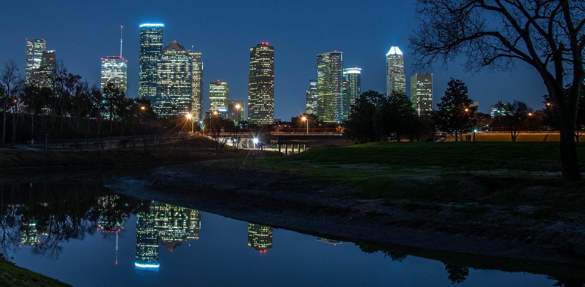 Houston architecture bridges cities City texas Night towers buildings 2048x1007