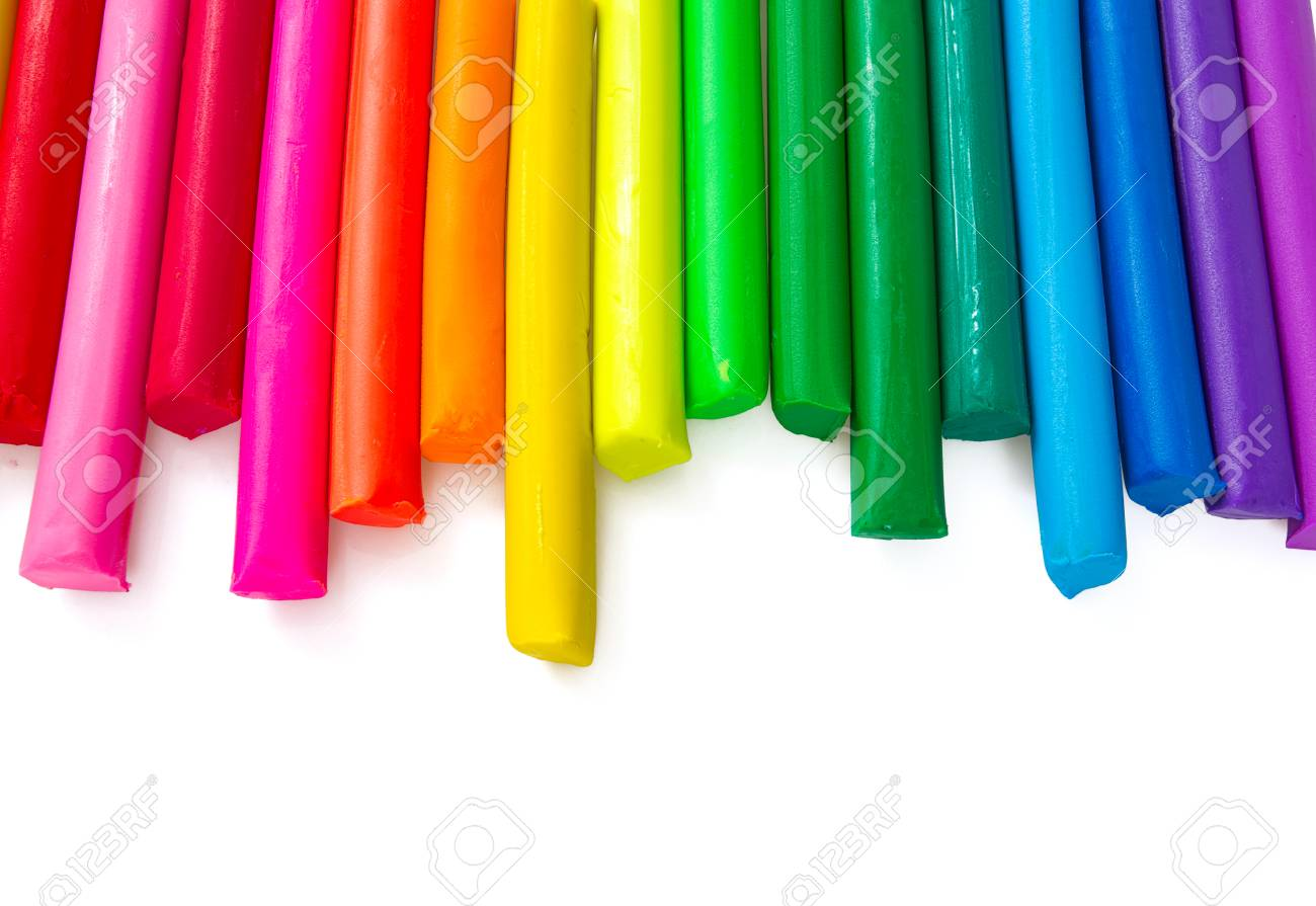 Colorful Playdough On White Background Stock Photo Picture And 1300x895