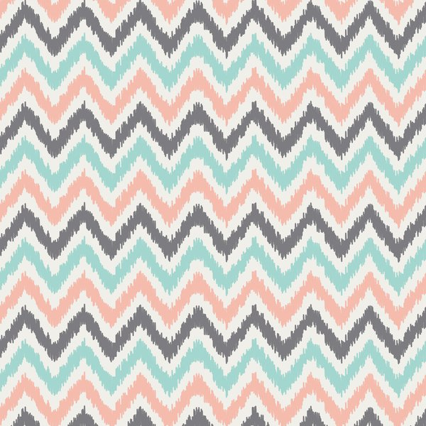 Mint And Coral Color Wallpaper Mint gray coral zigzag pattern 600x600