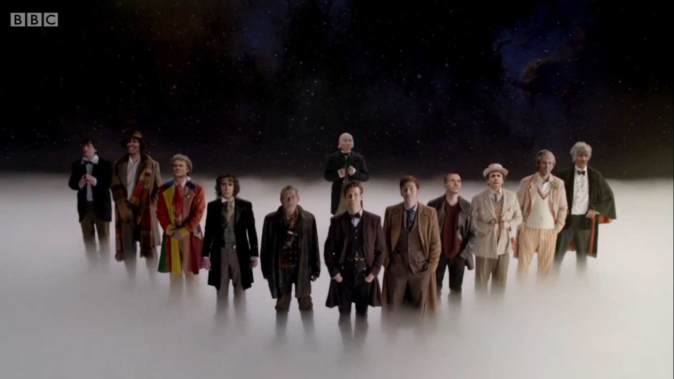 the day of the doctor 3 tardises all doctors front view this is bloody 1366x768