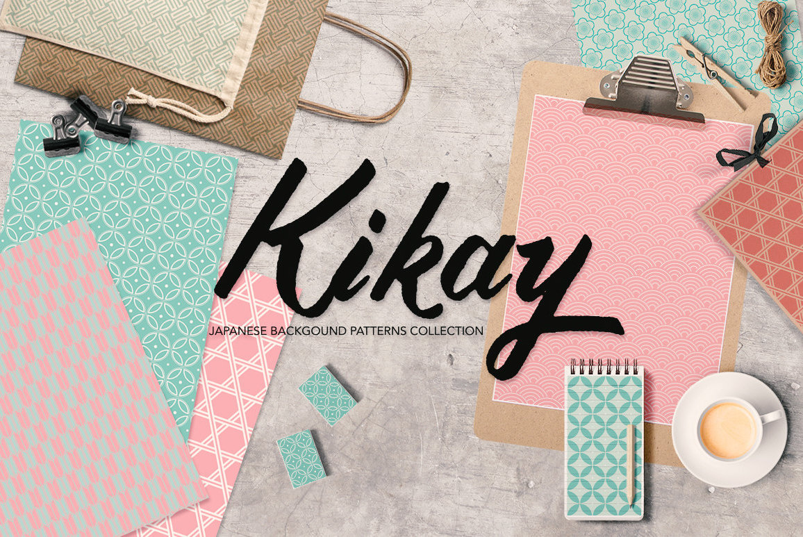 Japanese Backgrounds in Coral Pink and Mint Green Digital Graphics 1156x773