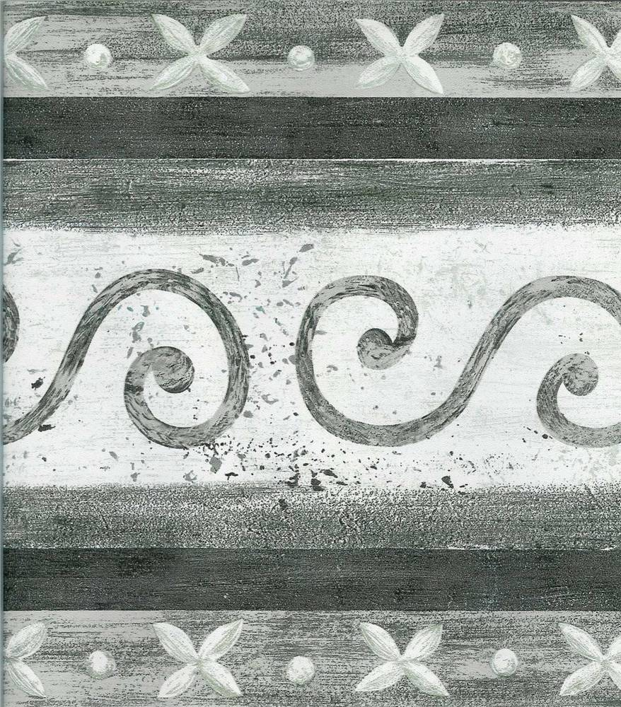 Modern Black Grey White Scroll Wallpaper Border eBay 878x1000
