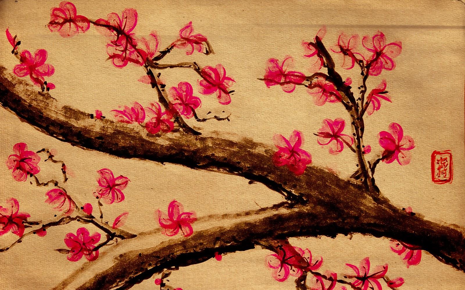 cherry blossom illustration wallpaper mount fuji fuji san wallpaper 1600x1000