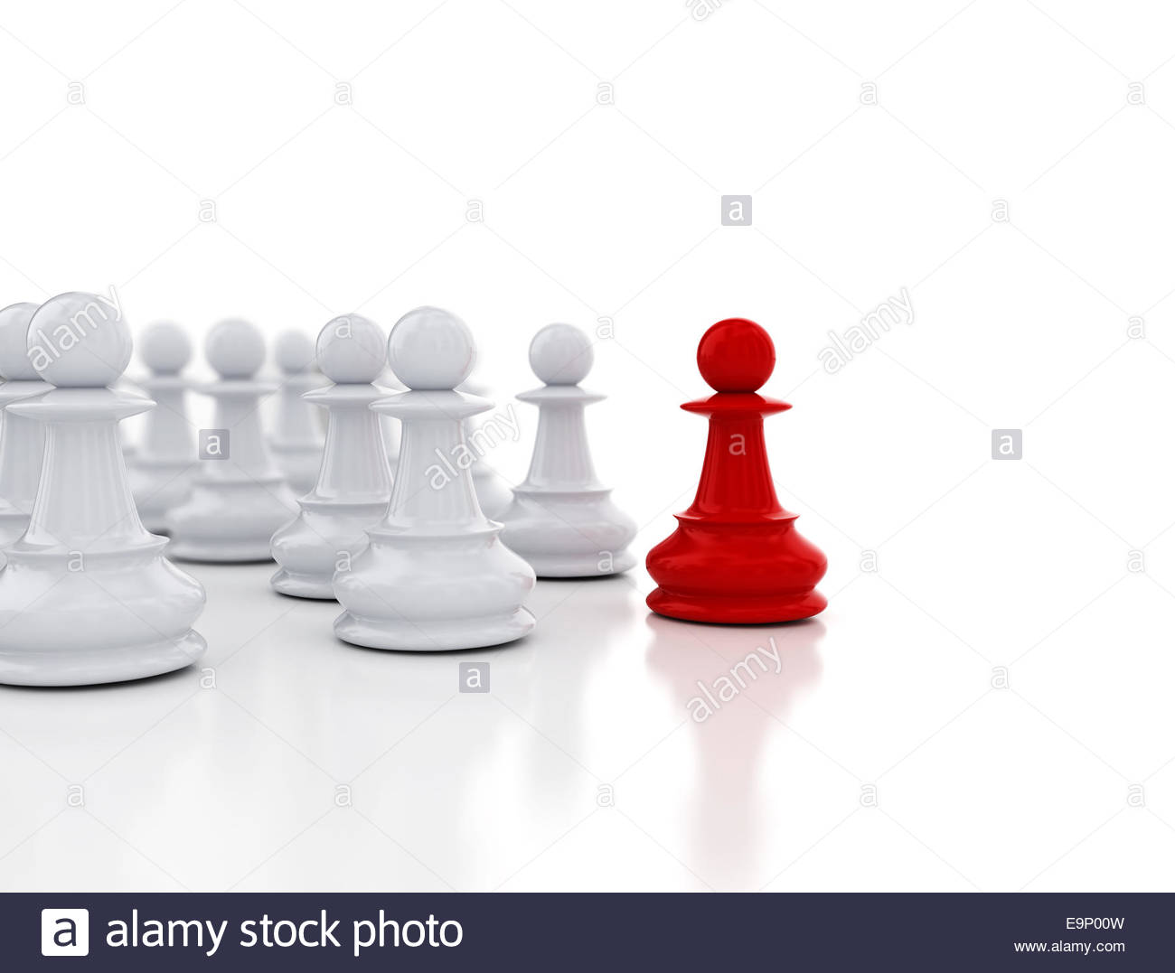 Red pawn in front   Business leadership background Stock Photo 1300x1077