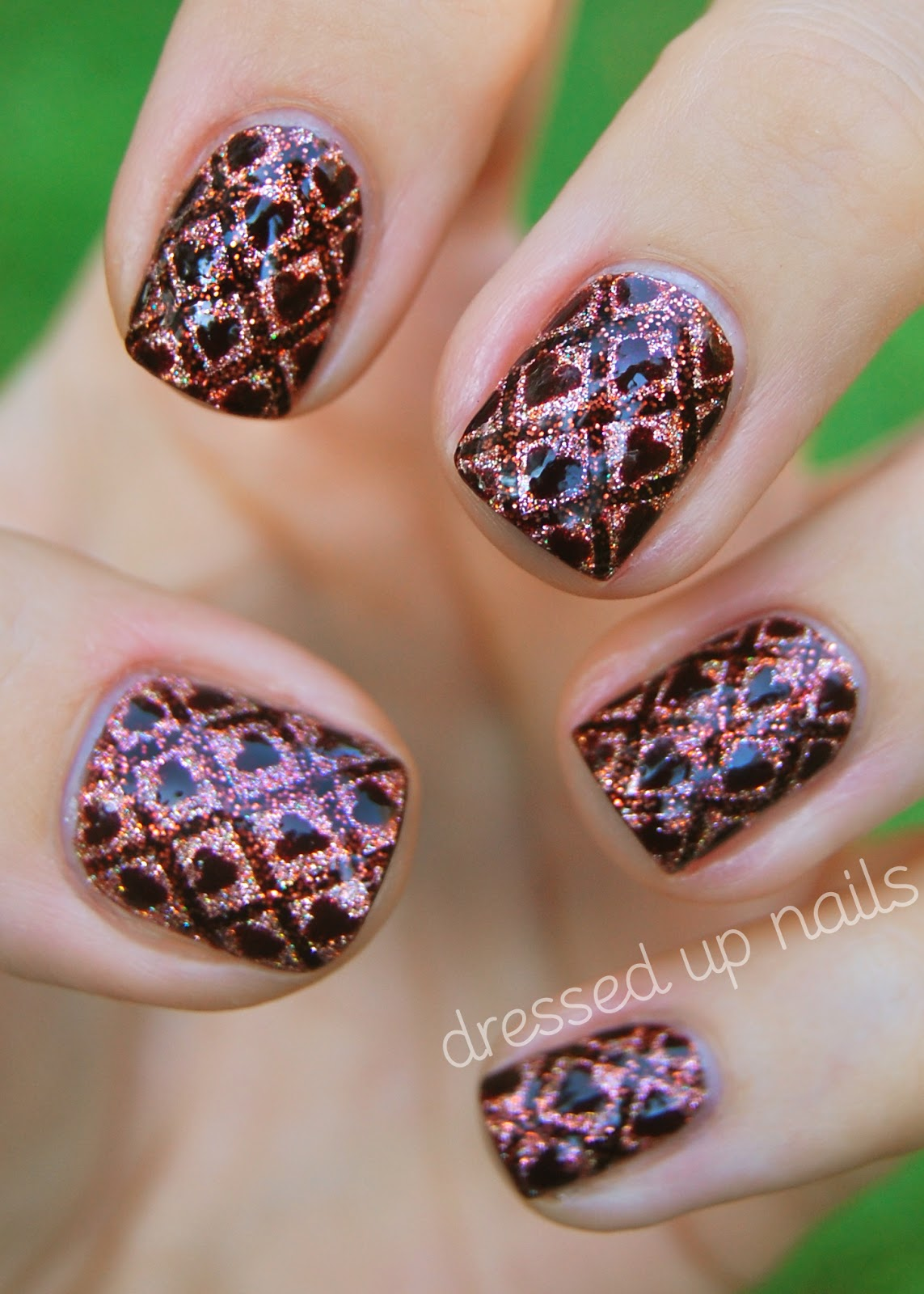 Dressed Up Nails Ornate wallpaper nail art with hearts and GLITTER 1143x1600