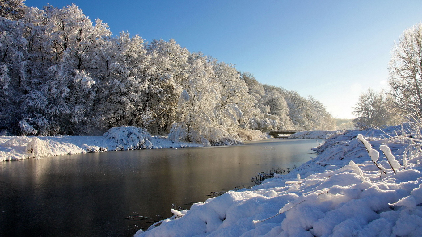 Wallpaper river bridge forest snow winter large on the desktop 1366x768