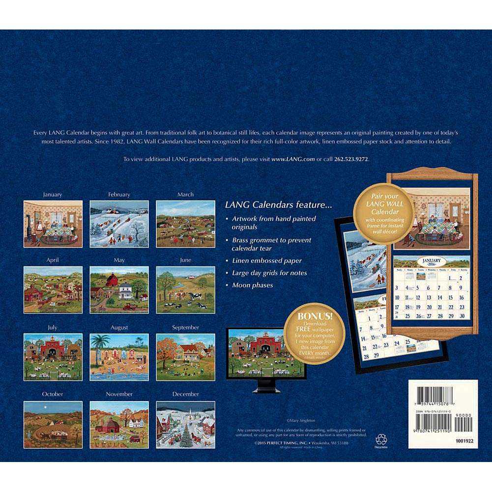 Lang Folk Art 2016 Wall Calendar 1001x1001