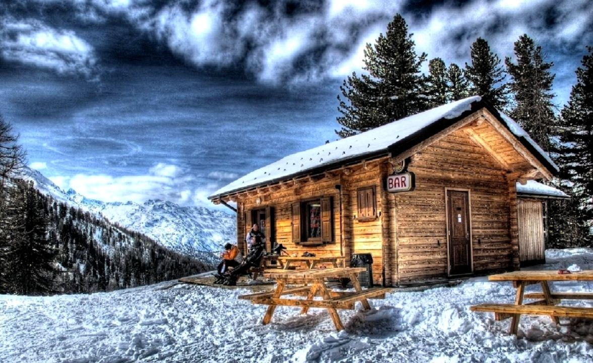 Winter Cabin Wallpaper Just Wallpapers 1177x720