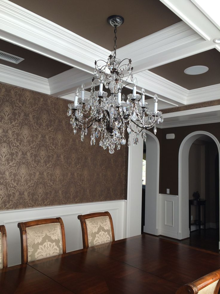 Dining room wallpaper wainscoting coffered ceiling 736x981
