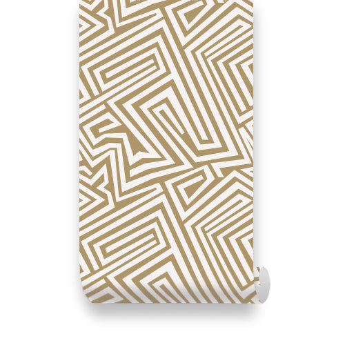 Spiral Lines Pattern Gold Removable Wallpaper Peel by WallPlays 500x500