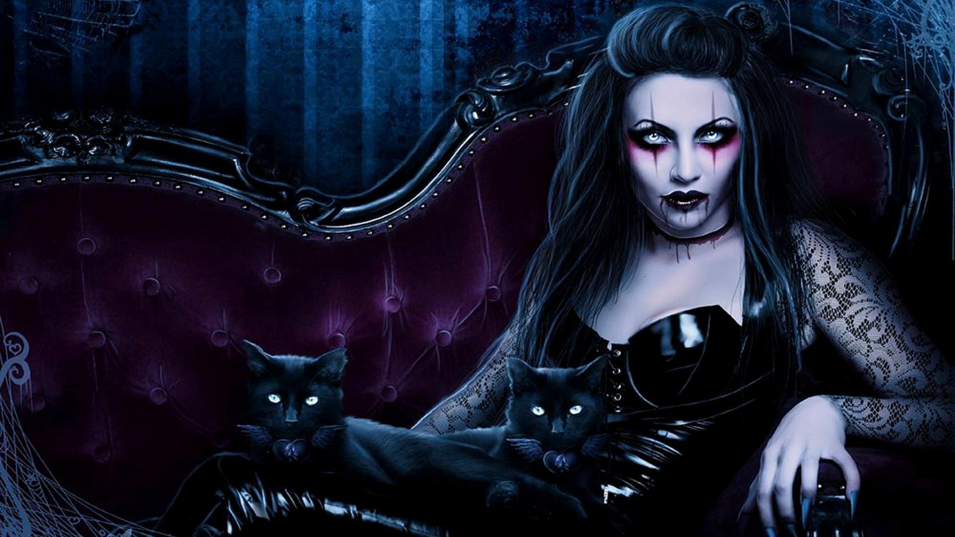 Dark fantasy gothic vampire evil horror cats art wallpaper 1920x1080 1920x1080