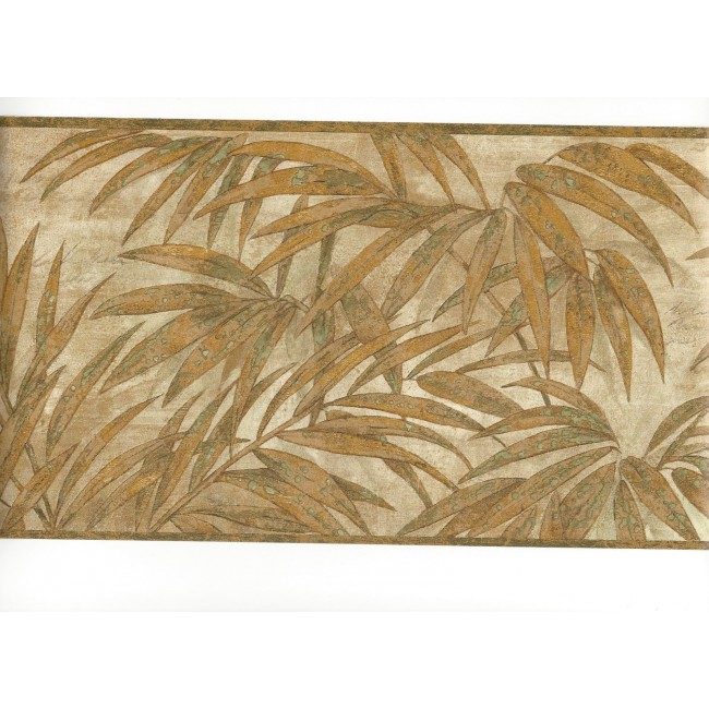 Tropical Golden Leaves on Beige Wallpaper Border   All 4 Walls 650x650