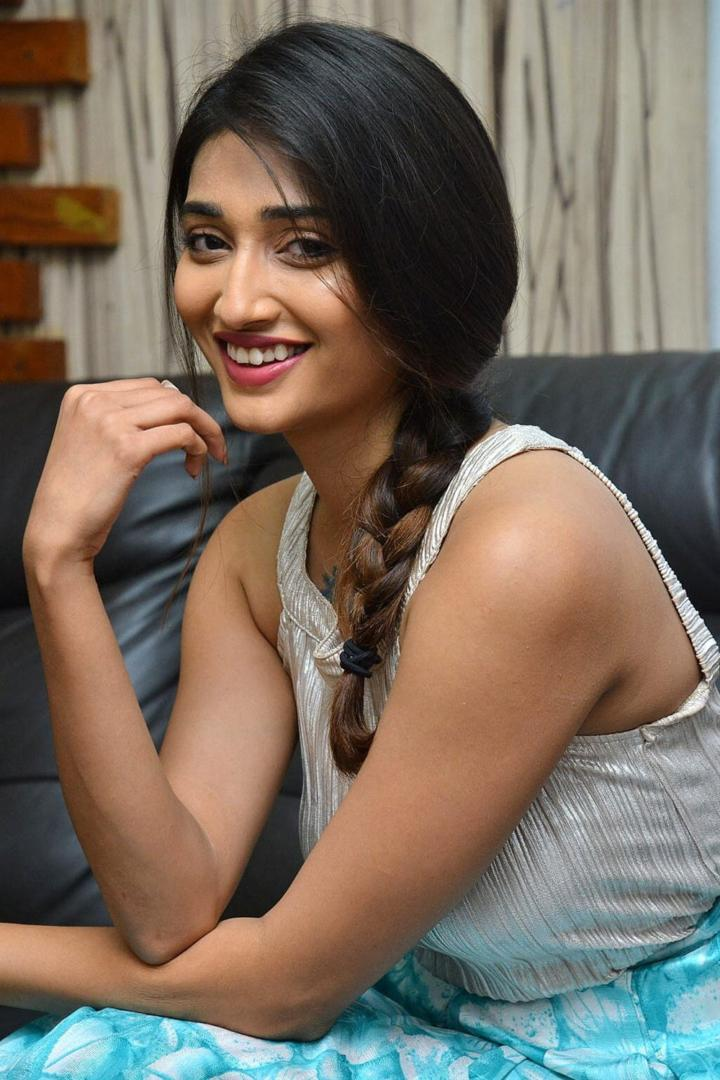 Actress Priya Vadlamani In blue top at Husharu Movie Success Meet 720x1080