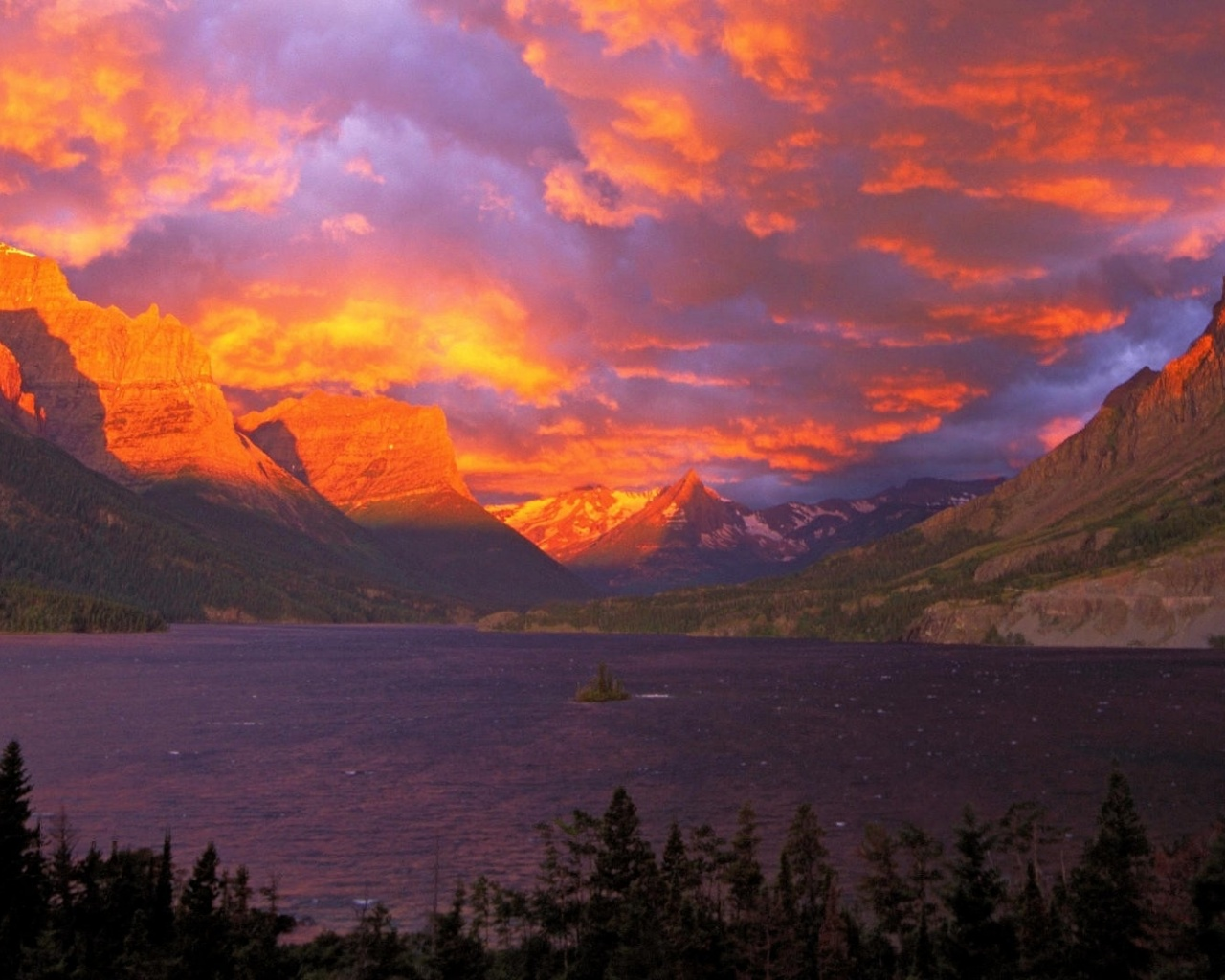 1280x1024 Montana Glacier SaintMaryLake desktop PC and Mac wallpaper 1280x1024
