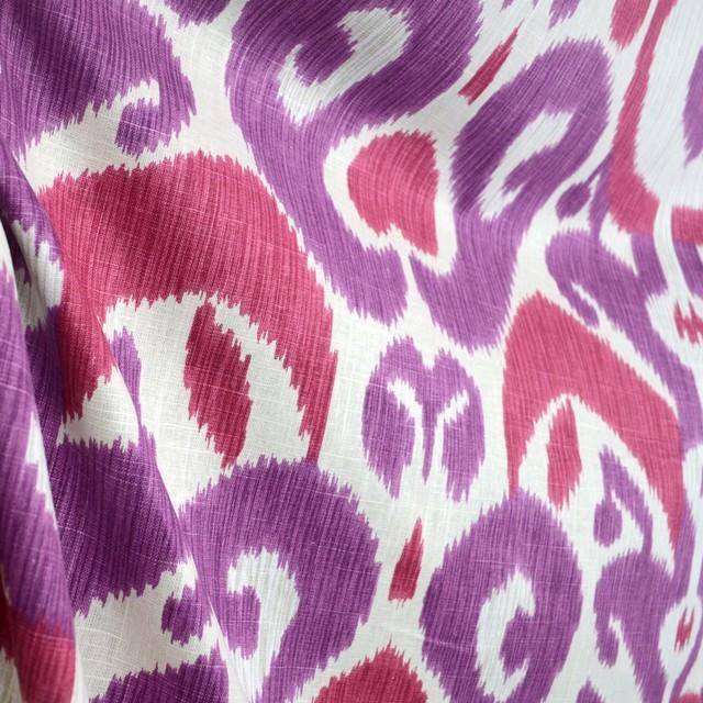 Big Bold Begonia Purple Ikat Real Linen Damask Fabric traditional 640x640