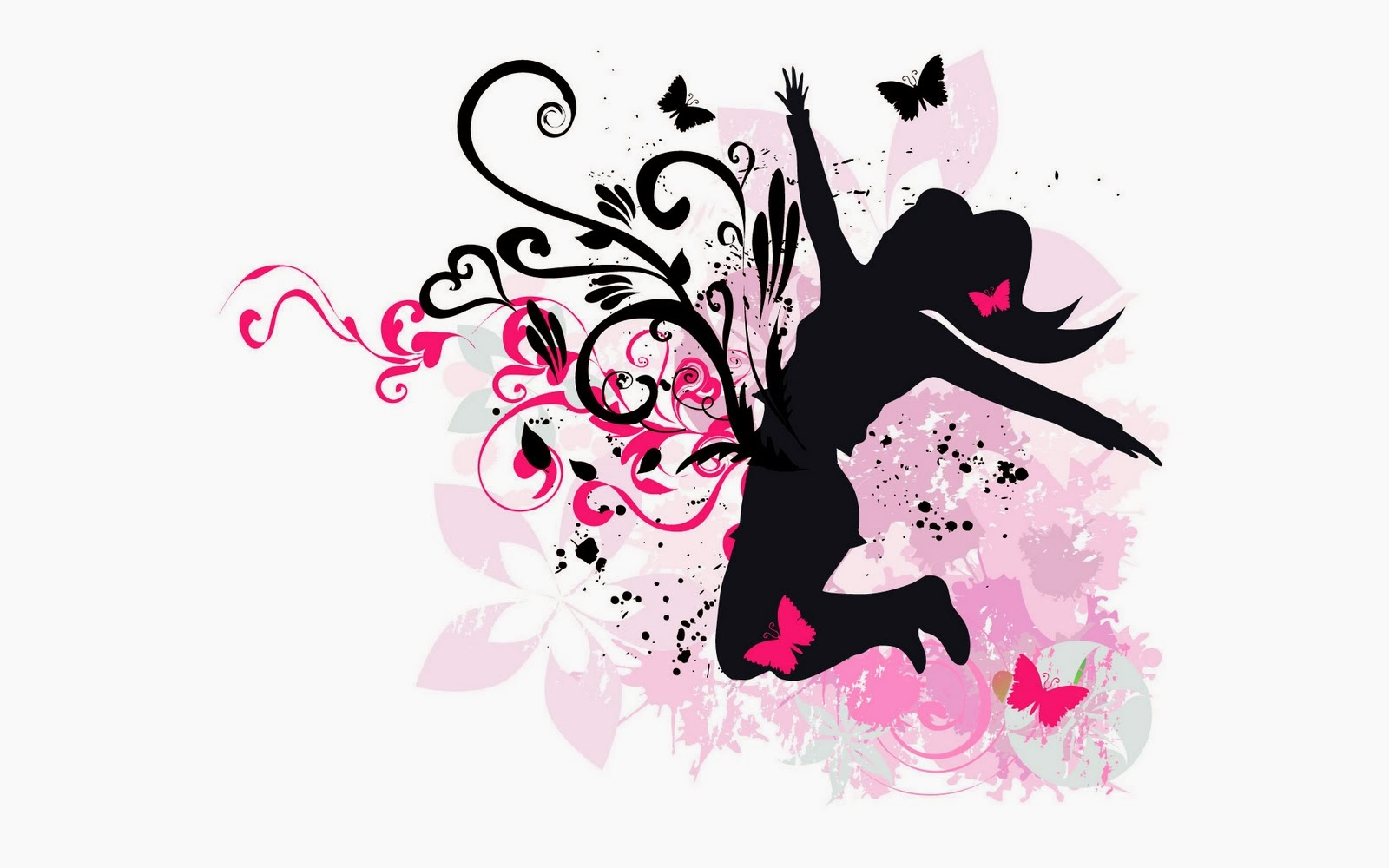 Free Download White Music Desktop Wallpaper With Black And Pink