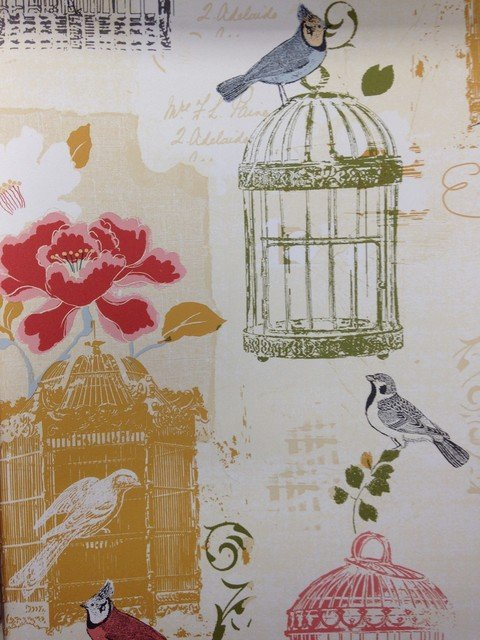 Bird Cage Kitchen Wallpaper   Traditional   Wallpaper   houston   by 480x640