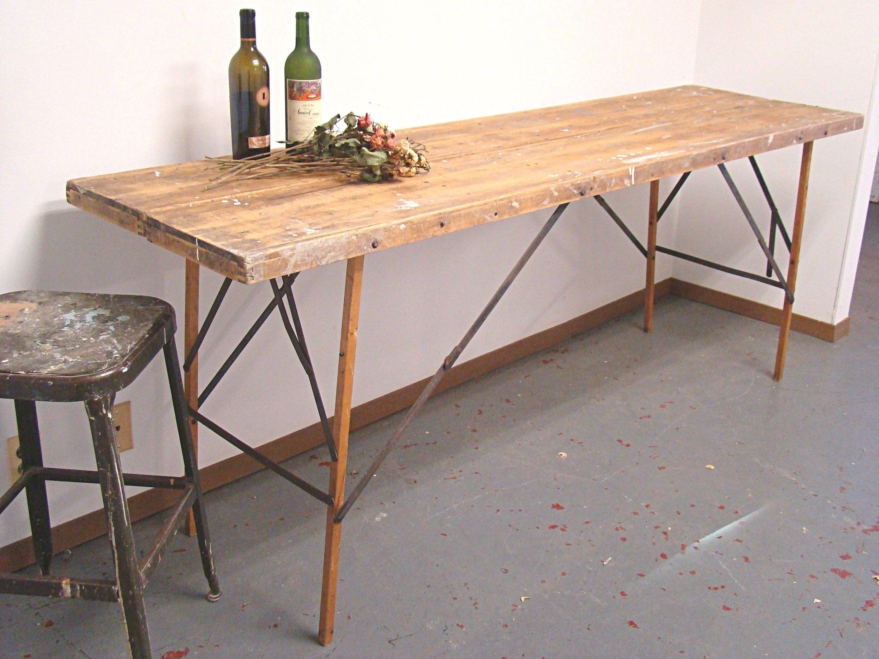 Vintage Wallpaper Table Folding Table Wood Work Surface 3000x2250