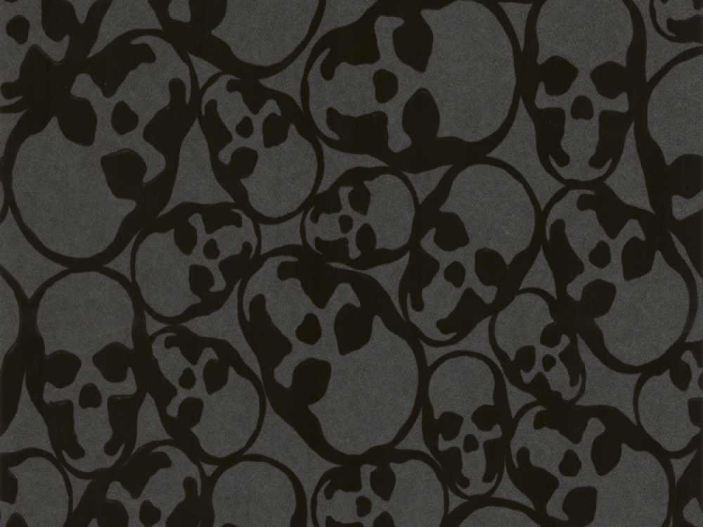 Delivery on Barbara Hulanicki Skulls Black Flock Wallpaper 1000x750