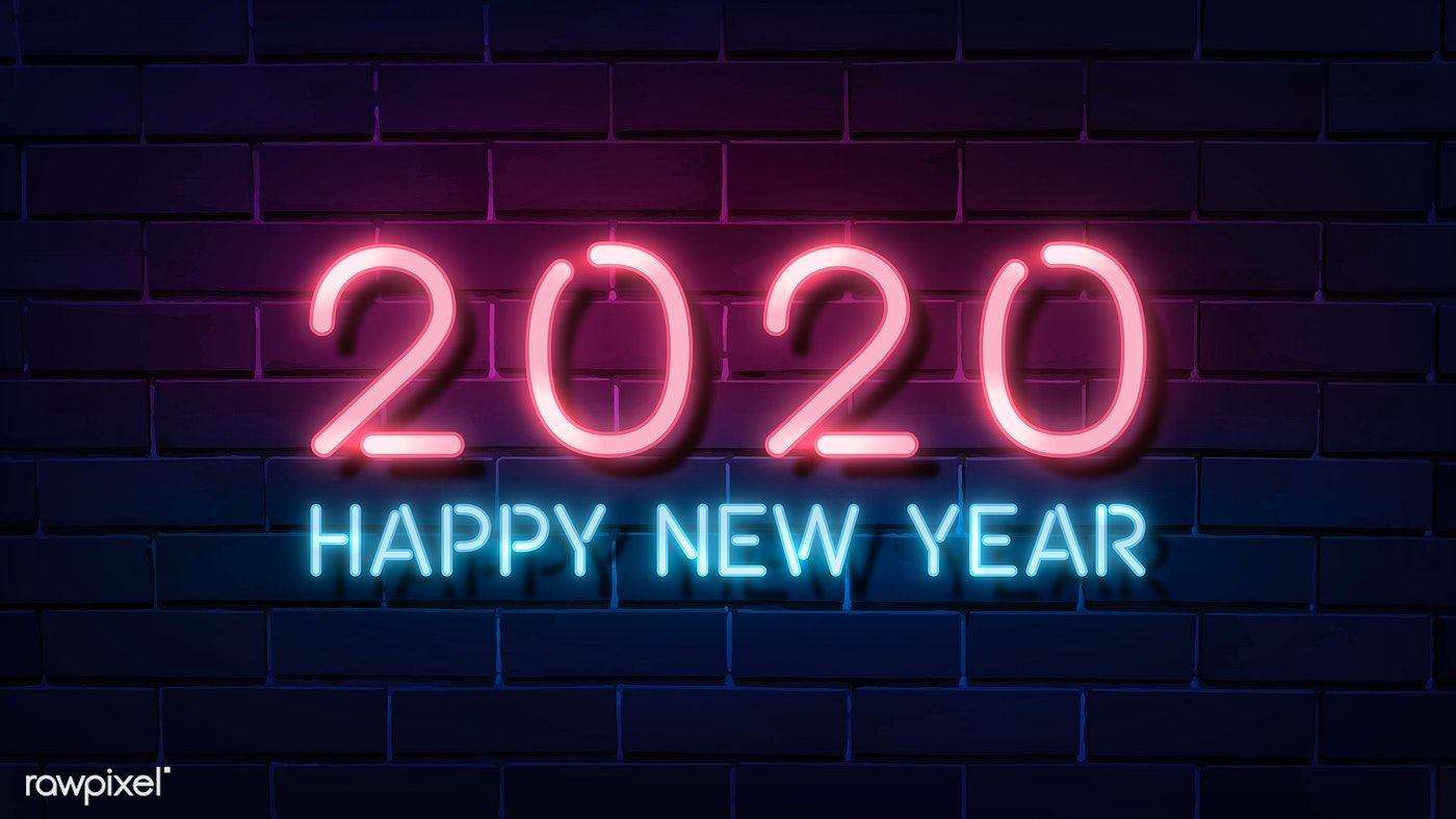 Download premium vector of Neon pink happy new year 2020 wallpaper 1400x788
