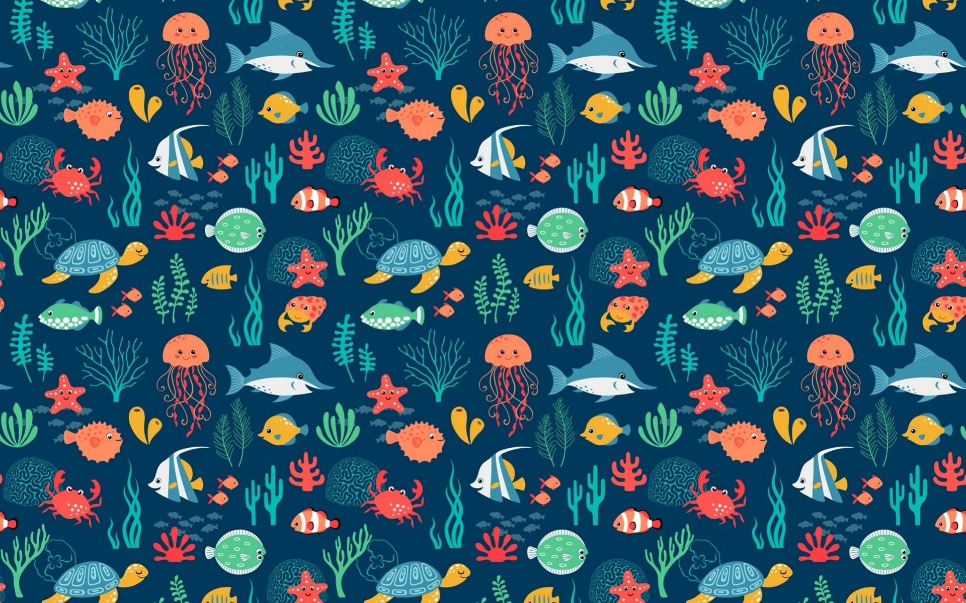 Sea Animals Pattern wallpapers Sea Animals Pattern stock 1920x1200