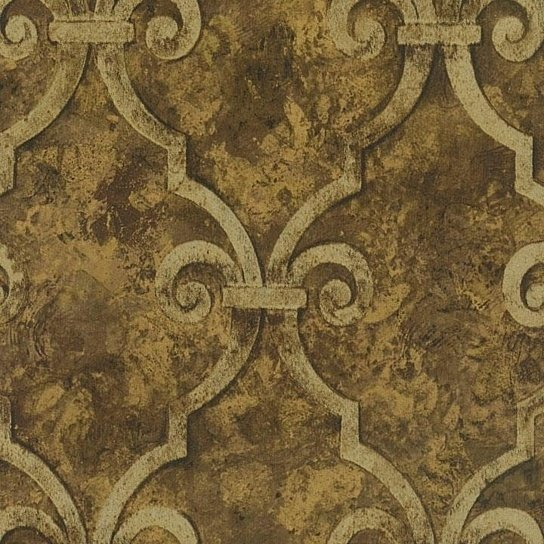 Buy Wallpaper Designer Gold Metallic Trellis Lattice on Brown Faux by 544x544