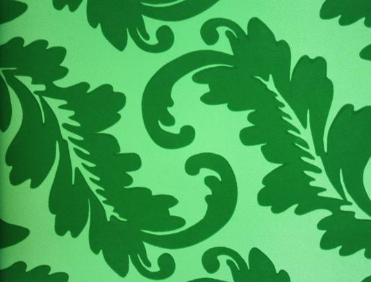 Emerald Green Damask Flock Wallpaper