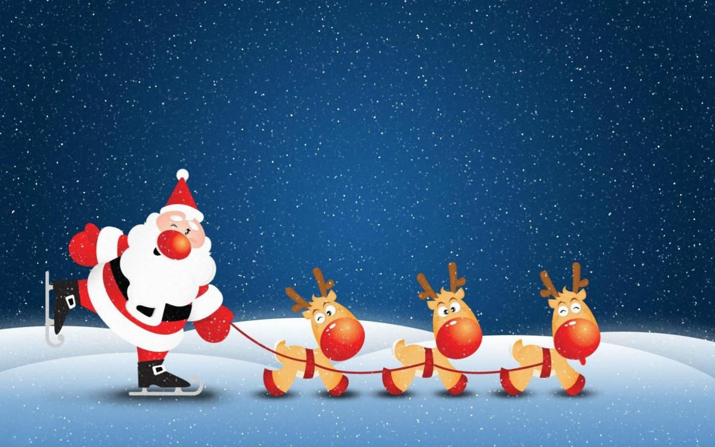 Cute Animated Santa Snow Christmas Screensavers Wallpaper 1440x900