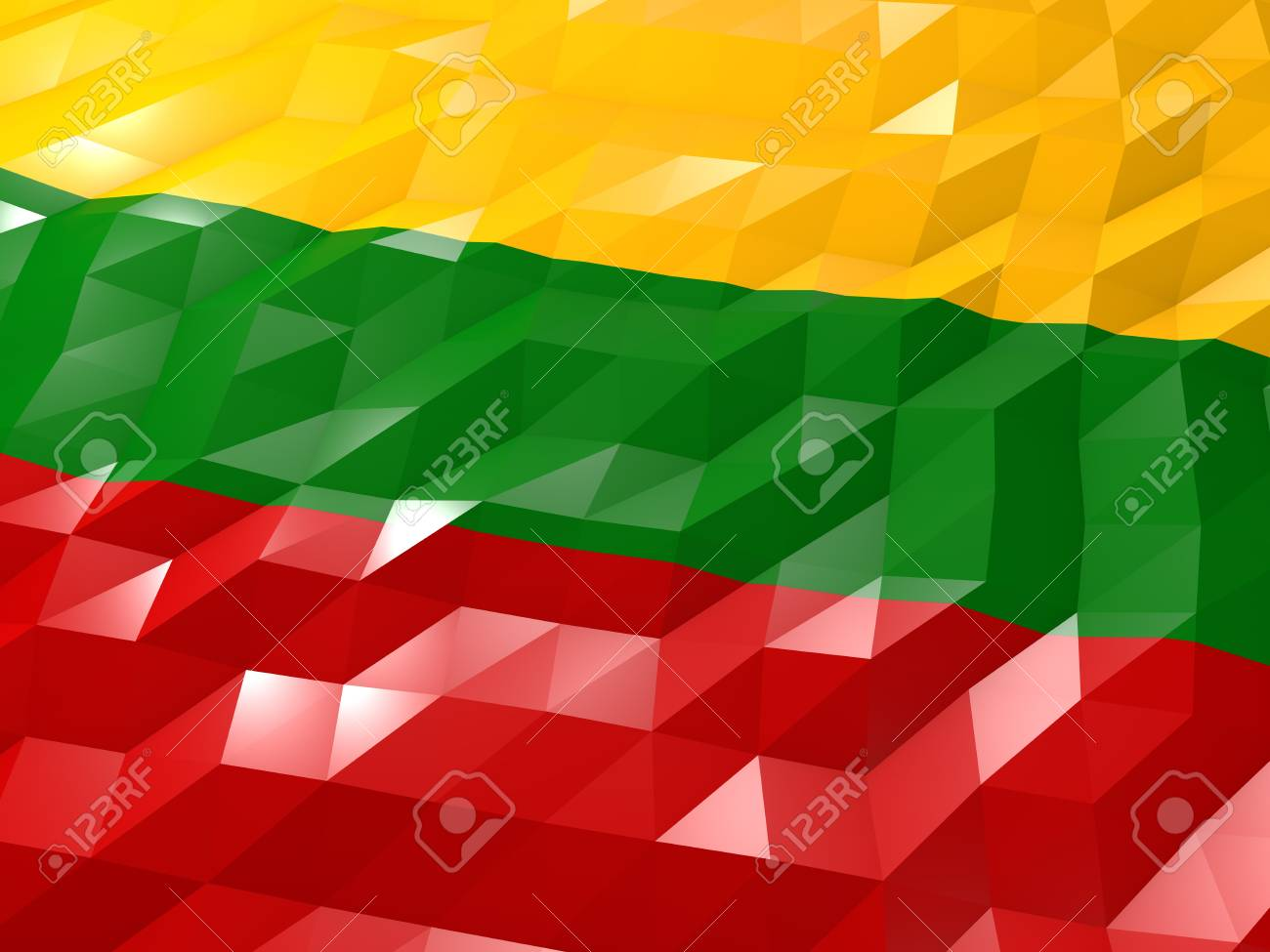 Flag Of Lithuania 3D Wallpaper Illustration National Symbol 1300x975