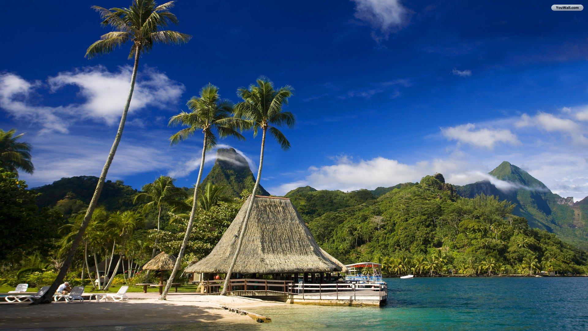 Pin Hd Tropical Island Beach Paradise Wallpapers 1920x1080 ...