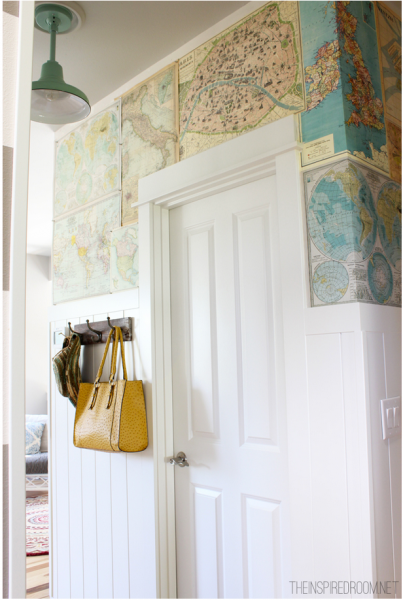 instructions and more images of her DIY map wallpaper feature wall 403x600