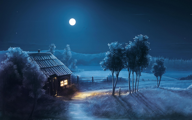 Blue Night Full Moon Scenery HD Wallpaper 2880x1800