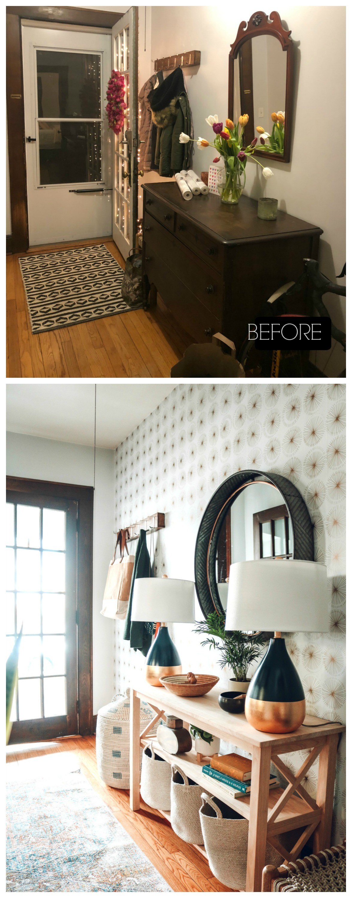Entry Makeover with Removable Wallpaper and No Closet   Nesting 1176x3000