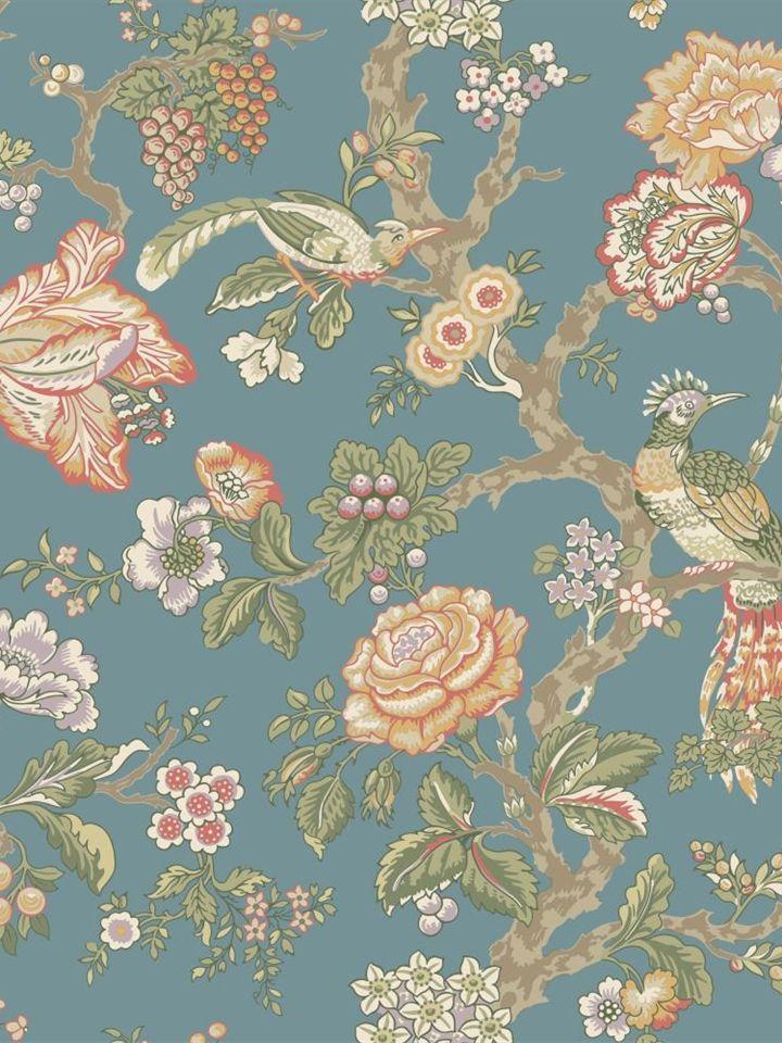 Blue And White Jacobean Wallpaper Wallpapersafari